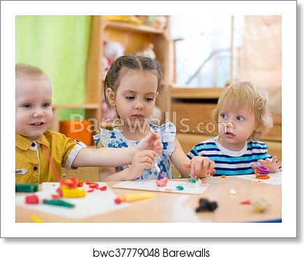 Kids Doing Arts And Crafts In Day Care Kindergarten, Art Print