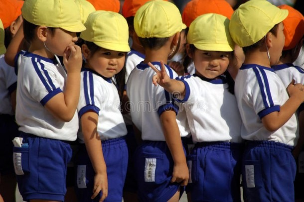 Japanese Girl In Kindergarten Uniform Stock Photo