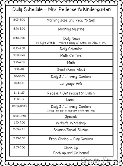 29 Images Of First Grade Class Schedule Template