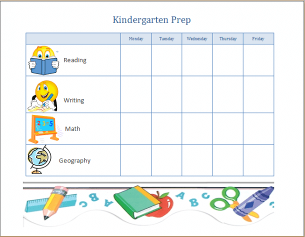 Kindergarten Prep Progress Chart