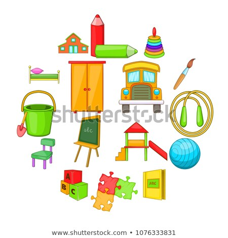 Kindergarten Security Icons Set Cartoon Style Stock Vector