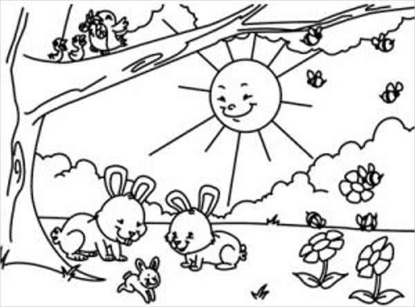 10+ Spring Coloring Pages
