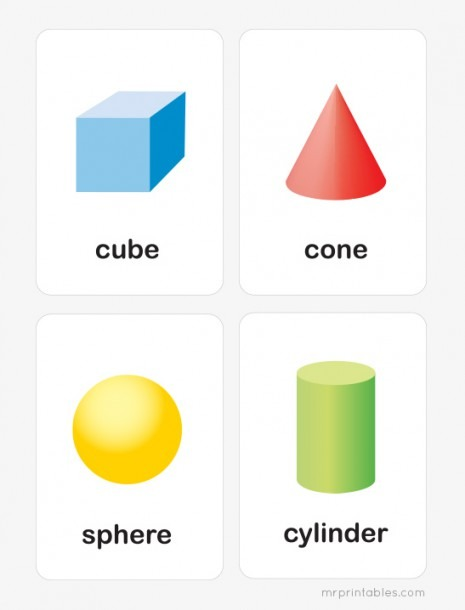 Printable 3d Shapes Flash Cards
