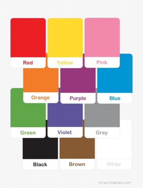 Printable Color Flash Cards For Preschool Learning