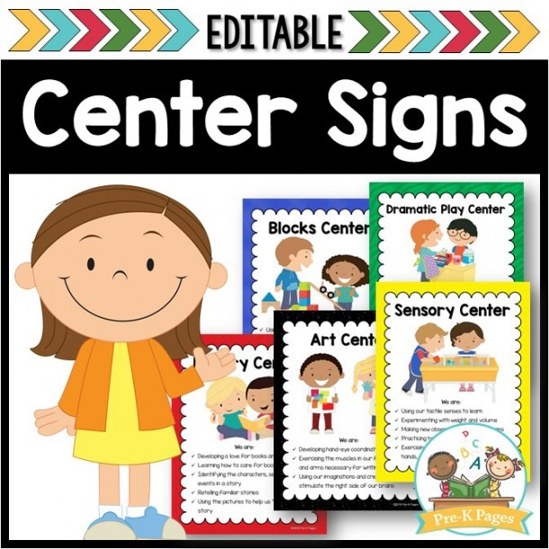 Editable Center Signs For Preschool And Pre