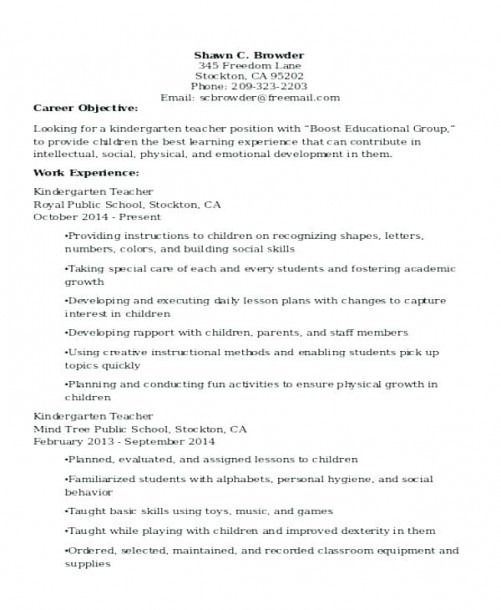 Nursery School Teacher Resume – Skinalluremedspa Com