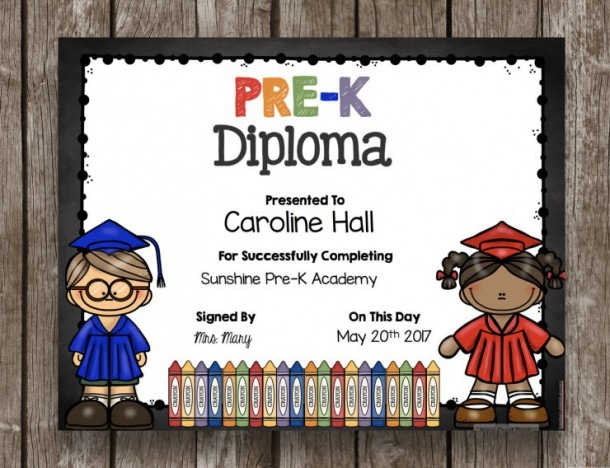 Off Sale Pre K Diploma Graduation Printable