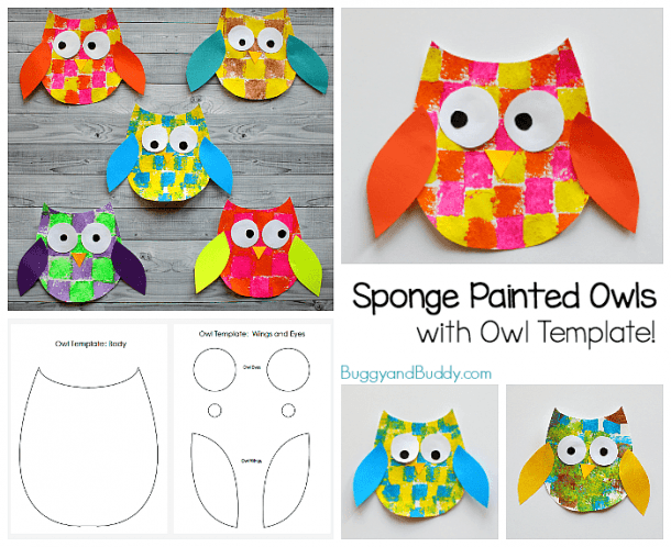 Sponge Painted Owl Craft For Kids With Owl Template
