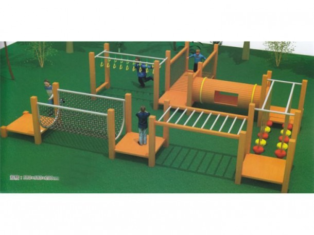 Children Wooden Outdoor Playground One Route Full Of Various