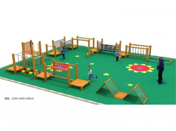 Wooden Outdoor Playground One Route Full Of Various Adventure