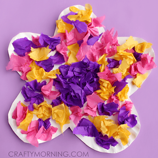 Paper Plate Flower Craft Using Tissue Paper