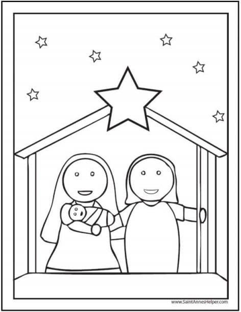 15+ Printable Christmas Coloring Pages  Jesus & Mary, Nativity Scenes