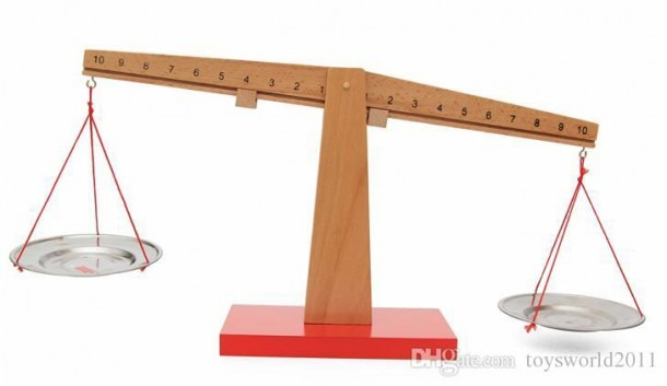 2019 Montessori Wooden Balance Beam Weighing Scale Kindergarten