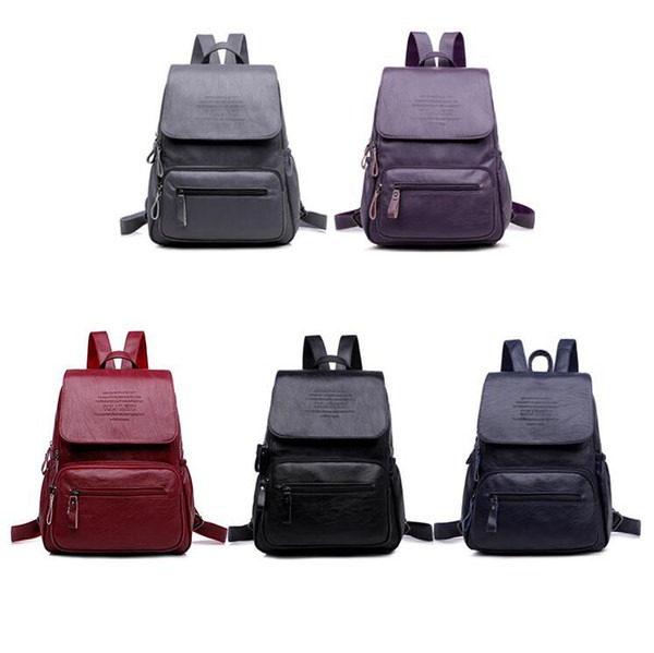 Women Pu Leather Backpack Solid Teenager School Bags Large