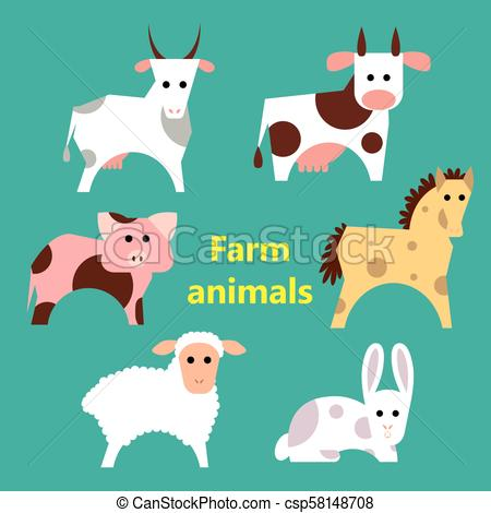 Set Of Farm Animals On Simple Color Background  Educational