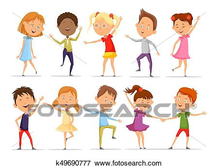 Set Of Isolated Little Boys And Girls Dancing Clip Art