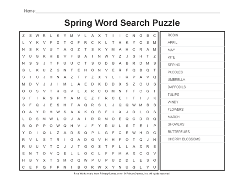 Spring Worksheets  Spring Word Search Puzzle