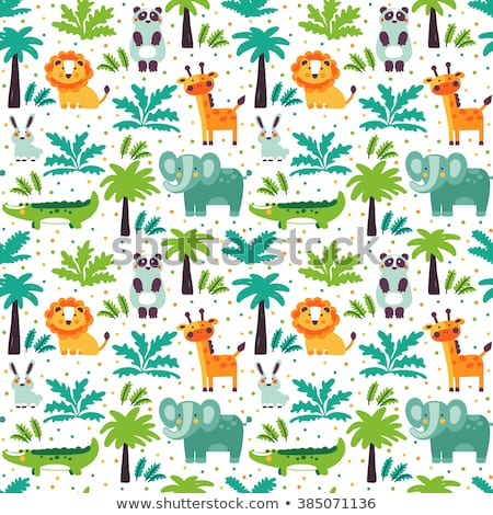 Funny Animal Seamless Vector Pattern With White Background Made Of