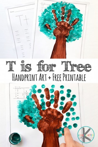 T Is For Tree Hand Art Project – Kindergarten Worksheets And Games