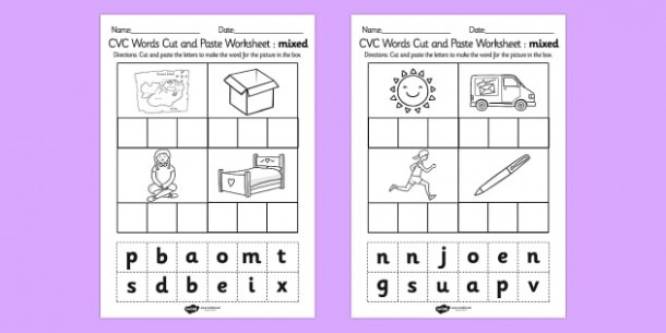 Cvc Words Cut And Paste Worksheet   Worksheets Mixed
