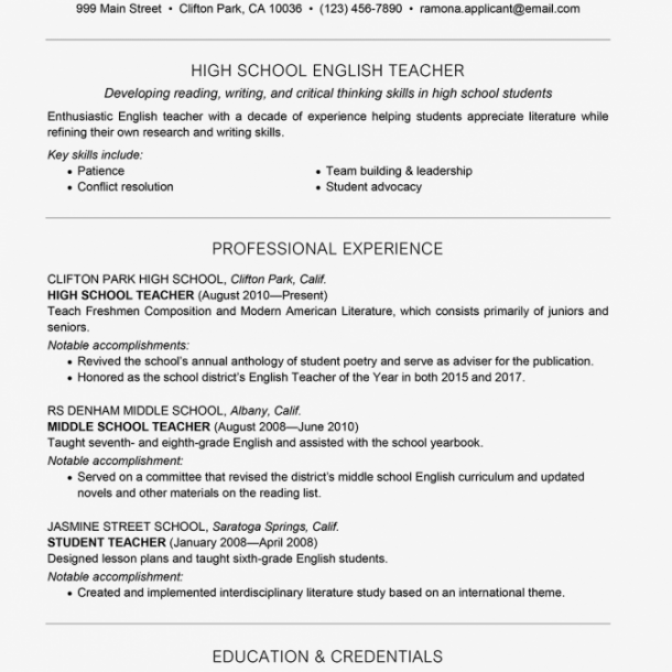 Teacher Resume Examples And Writing Tips 2063599v1