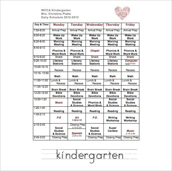 Weekly School Schedule Template
