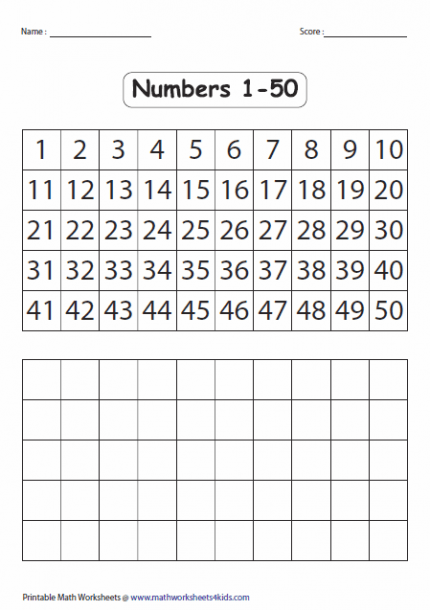 Fill In The Blank Number Chart 1