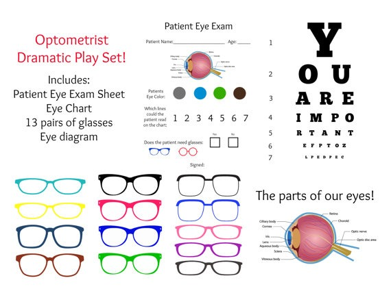 Instant Download Dramatic Play Optometrist By Lemonsqueezedesigns