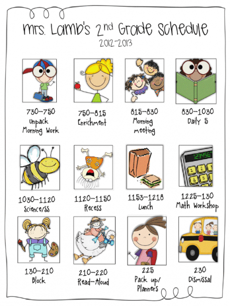 Daily Class Schedule Using Icons  I Love It!