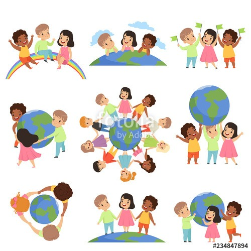 Collection Of Multicultural Little Kids Holding Earth Globe