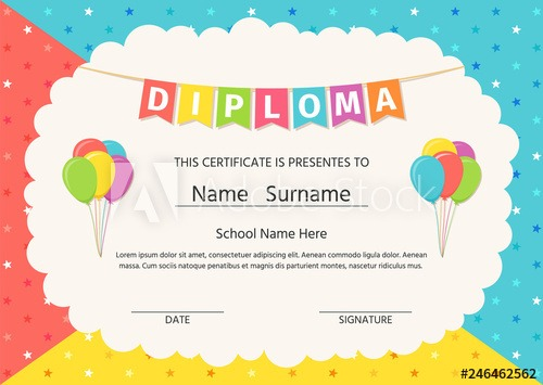 Diploma, Certificate For Kid  Vector  Graduation Background  Cute