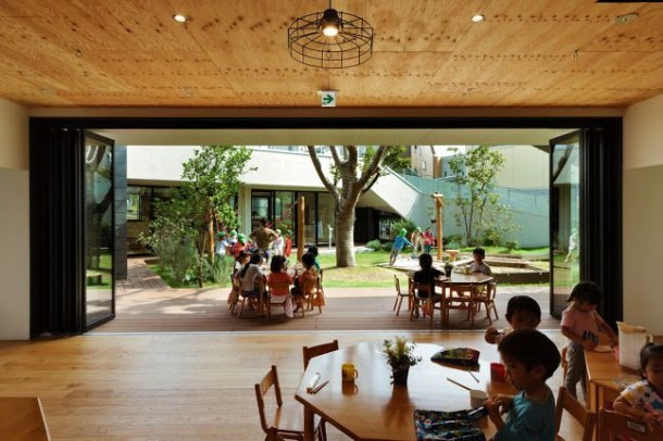 Japanese Kindergarten Features Awesome Green Courtyard Where Kids