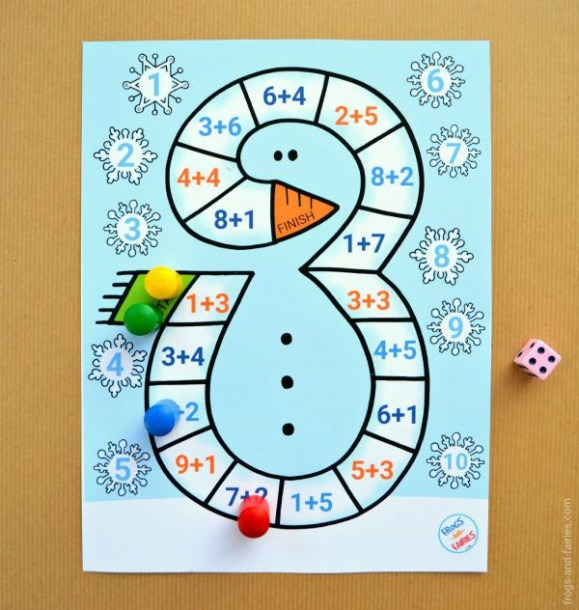 Snowman Addition To 10 Board Game