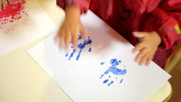 Hd00 27happy Children Having Fun And Painting With Hands In