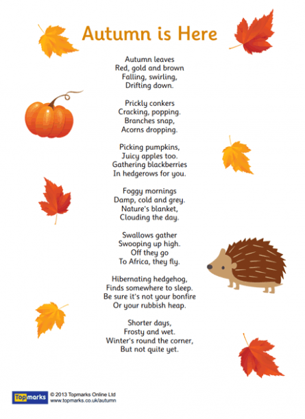 Autumn Is Here  Inspirational Poem For Use In The Primary