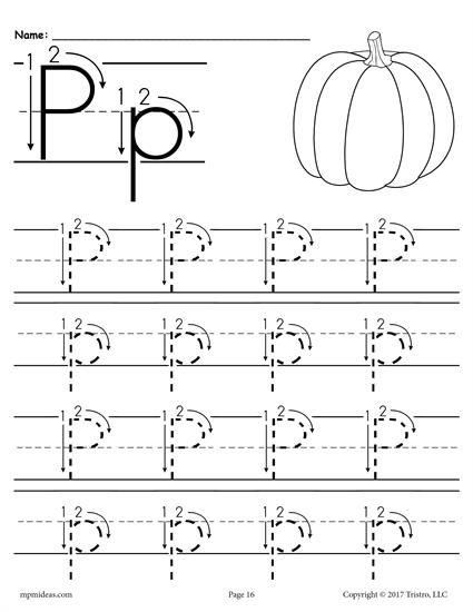 Free Printable Letter P Tracing Worksheet With Number And Arrow
