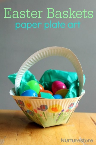Paper Plate Easter Basket Craft
