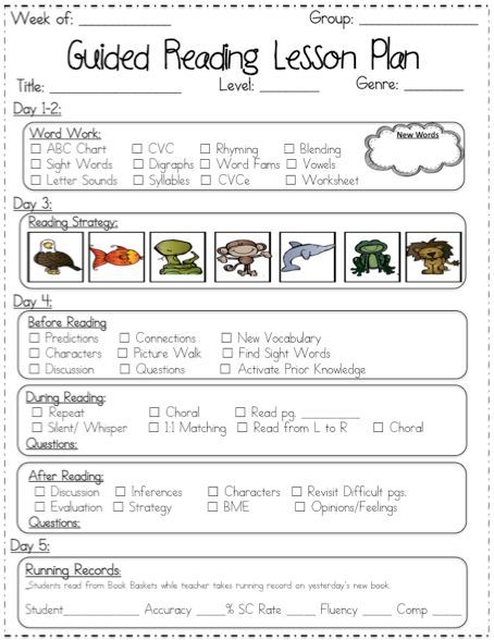 Guided Reading Lesson Plan Templates If I Ever Get To Move Back