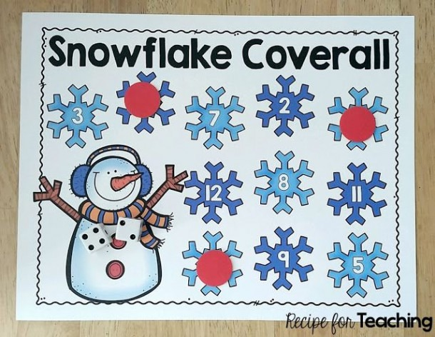 Fun Snowflake Coverall Math Game For Kids! Great Addition Activity