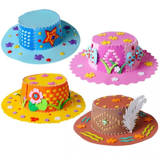 Eva Foam Paper Weaving Hat Creative Flowers Stars Patterns
