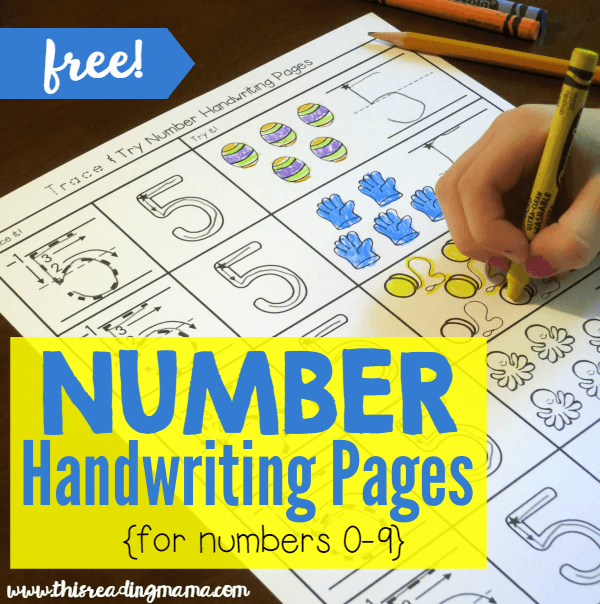 Writing Numbers With Trace And Try Handwriting Pages