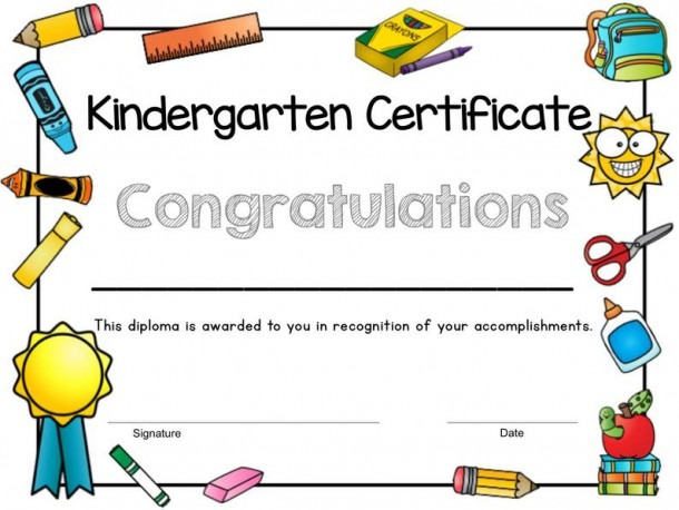 Printable Kindergarten Certificate End Of Year Certificate