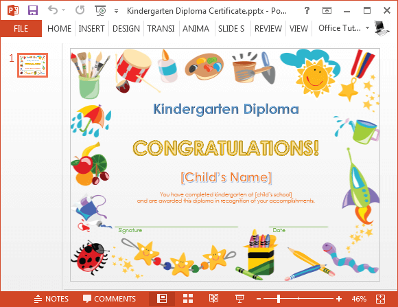 Printable Kindergarten Diploma Template For Powerpoint