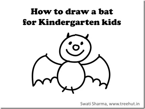 Kindergarten Kids Learn To Draw A Halloween Bat, Video Instructions