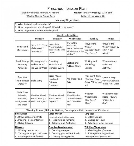 21+ Preschool Lesson Plan Templates