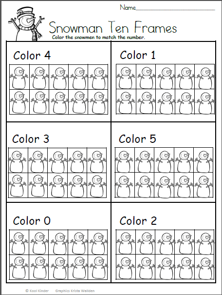 Color The Snowman Math For Kindergarten