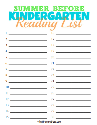 Free Printable Summer Reading List For Rising Kindergarten Students