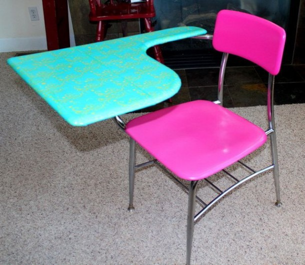 Hot Pink & Turquoise Refurbished Old School Desk Chair