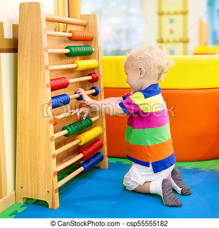 Abacus At Kindergarten  Educational Toys For Kids  Child Playing