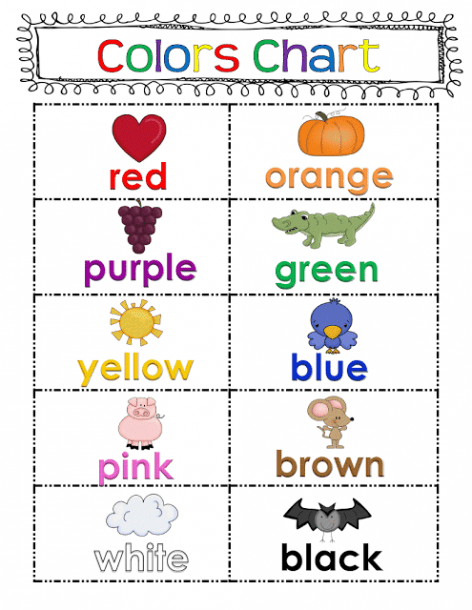 50 Followers And Freebies!!!! Color Word Chart